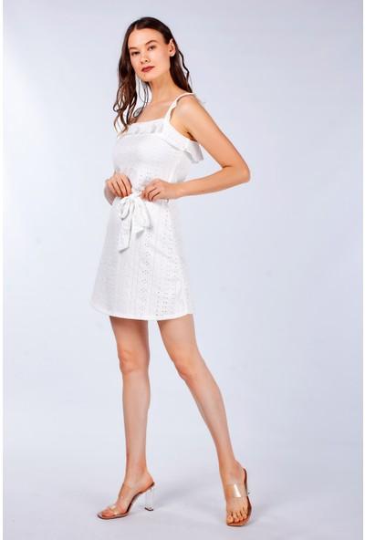 Coral Kadın 24176 Önü Lazer Volanli Elbise Ekru