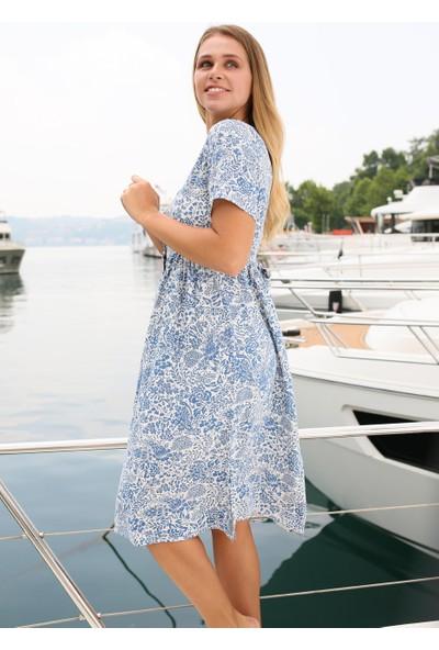 Coral Kadın 2667 Önü Düğmeli Empirme Elbise Mavi