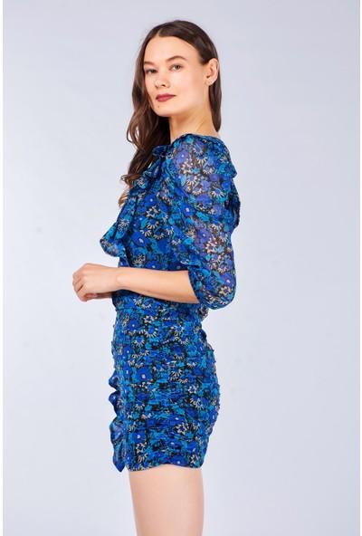 Coral Kadın 31255 Büzgülü Desenli Elbise Sax Mavi