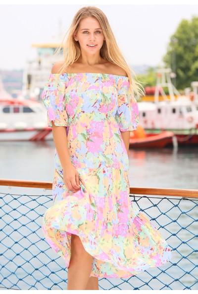 Coral Kadın 31269 Düşük Omuz Desenli Elbise Açik Mavi