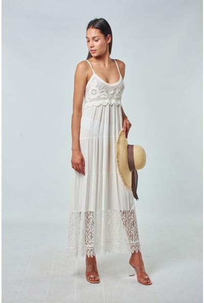 Coral Kadın 31917 Göğsü Örme Trikolu Elbise Ekru