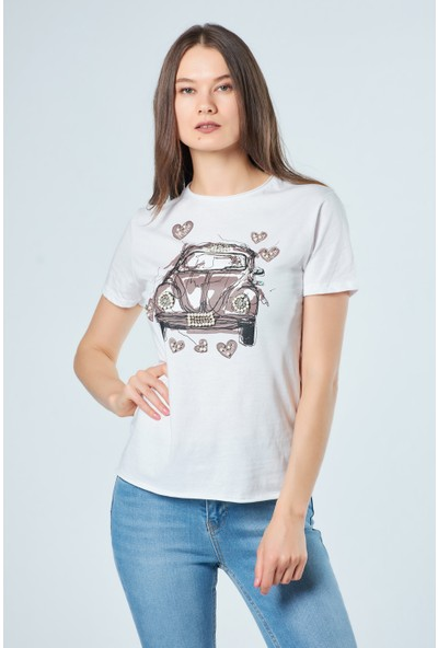 Coral Kadın 3301 Kalpli Vosvoslu T-Shirt Beyaz