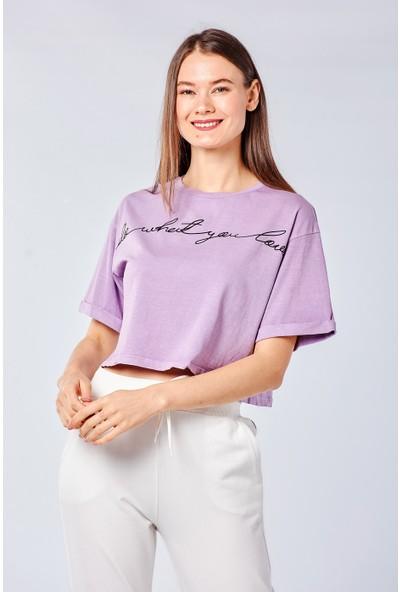 Coral Kadın 3537 Baskili Salaş T-Shirt Lila