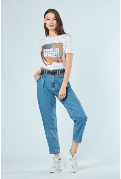 Coral Kadın 4057 Çift Pileli Bol Pantolon Mavi