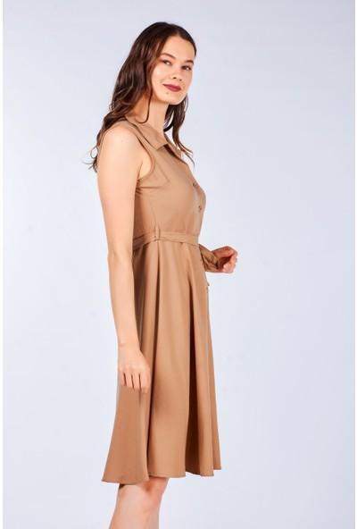 Coral Kadın 5089 Kolsuz Düğmeli Elbise Camel