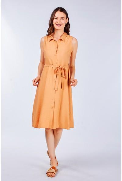 Coral Kadın 5089 Kolsuz Düğmeli Elbise Orange