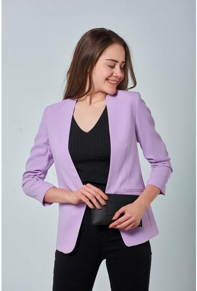 Coral Kadın 6698 Kolu Büzgülü Blazer Ceket Lila