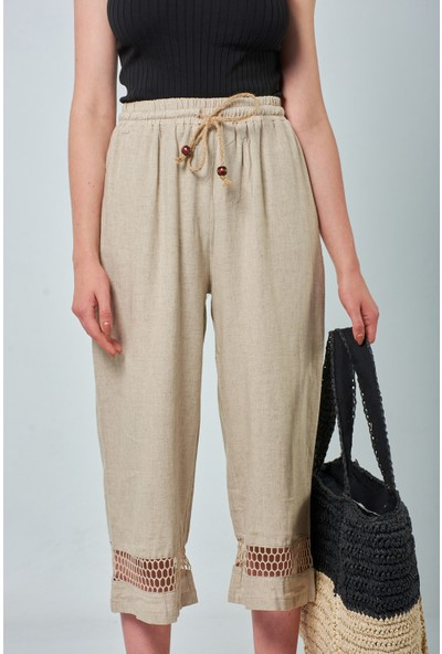 Coral Kadın 70560 File Detayli Pantolon Bej