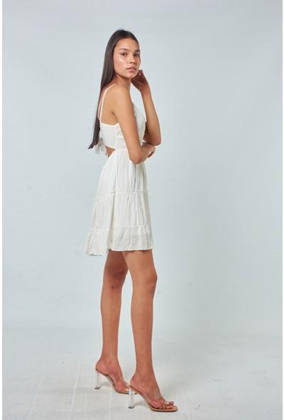 Coral Kadın 7285 Göğsü Dantelli Askili Elbise Ekru