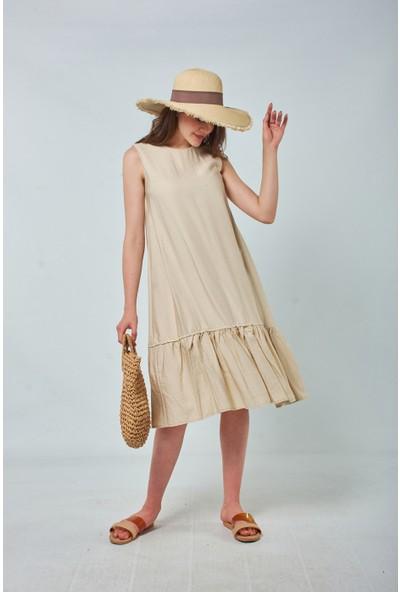 Coral Kadın 878 Keten Salaş Elbise Taş