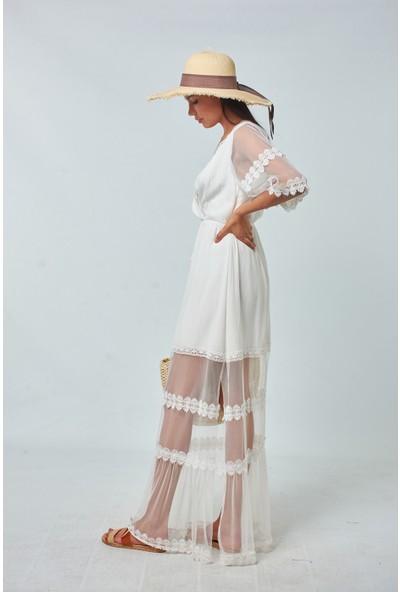 Coral Kadın 8984 Dantelli Tüllü Elbise Ekru