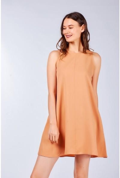 Coral Kadın 9038 Cepli Jile Elbise Camel