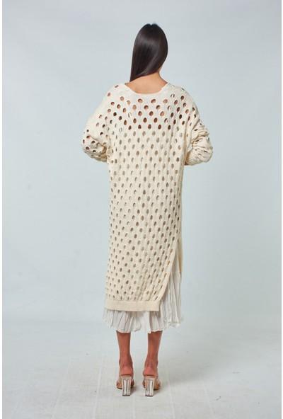 Coral Kadın 91052 Vual Astarli Ajurlu Elbise Ekru