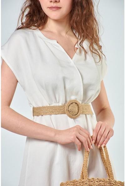 Coral Kadın 2020-773 Hasır Kemerli Kolsuz Elbise Ekru