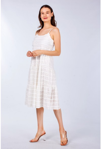 Coral Kadın 25050 Ip Askılı Lazerli Elbise Ekru