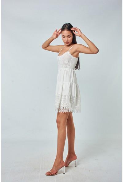 Coral Kadın 7362 Güpür Detaylı Askılı Elbise Ekru