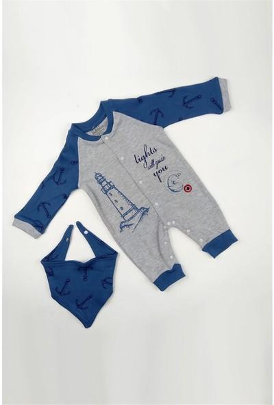 Blueberry Çıtçıtlı Patiksiz Erkek Bebek Fularlı Tulum