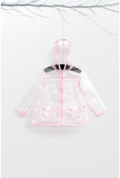 Wogi Kız Bebek Kapşonlu Cepli Şeffaf Yağmurluk