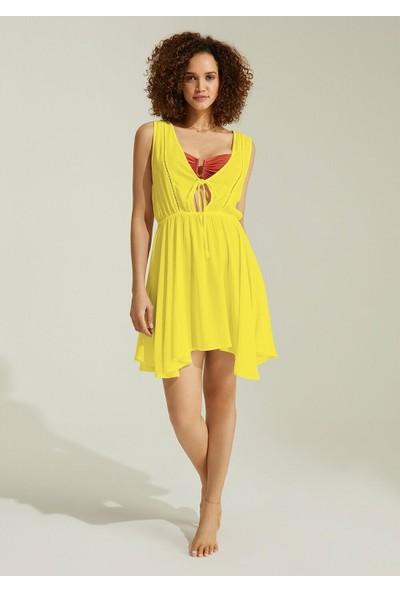Suwen Swan Plaj Elbisesi - Sarı M