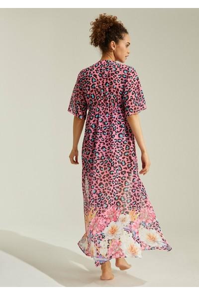 Suwen Floral Plaj Elbisesi - Çiçek Baskılı M