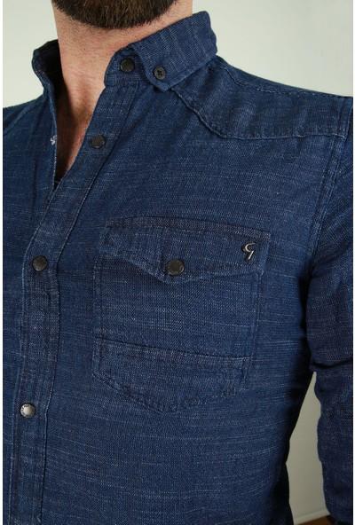 Z Giyim Erkek Çift Cepli Çıtçıt Düğmeli Spor Pamuklu Gömlek