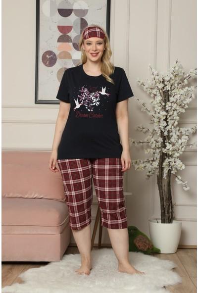 Pijama Evi Lacivert Dream Catcher Desenli Kısa Kollu Kaprili Büyük Beden Battal Pijama Takımı