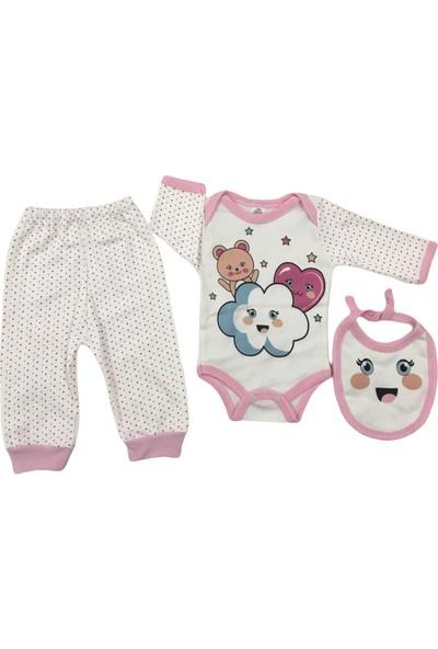 Baby Med Kız Bebek Bulut Figürlü Üçlü Takım