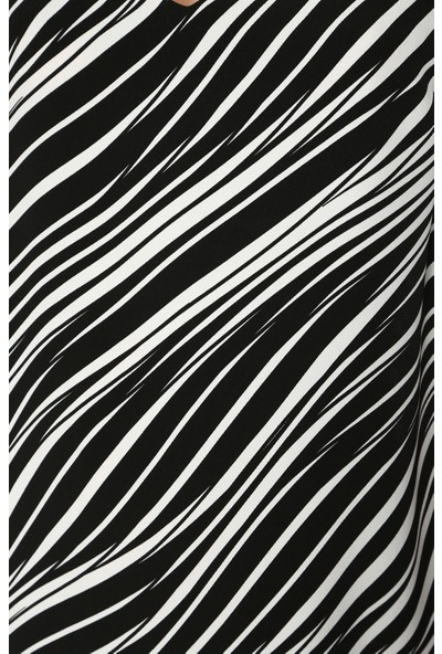 Network Kadın V Yaka Siyah Beyaz Desen Elbise