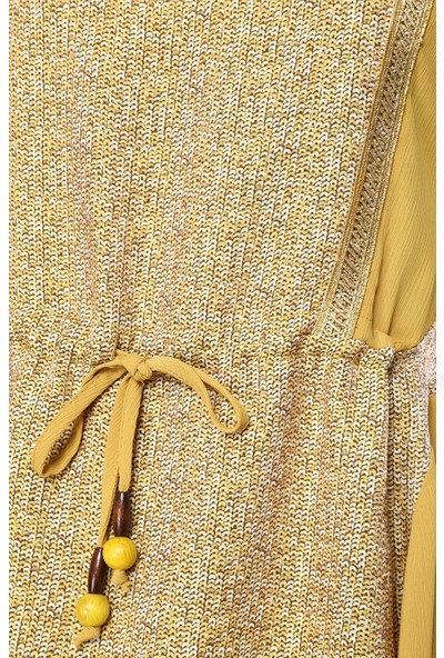 Network Kadın Bisiklet Yaka Sarı Desen Elbise