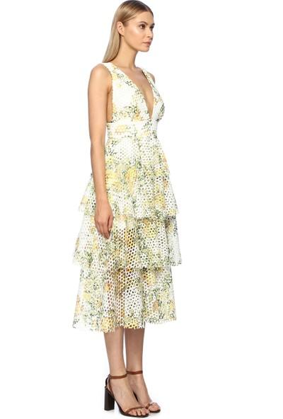 Network Kadın V Yaka Sarı Desen Elbise