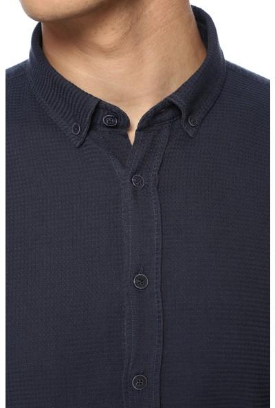 Network Erkek Jakarlı Slim Fit Lacivert Gömlek