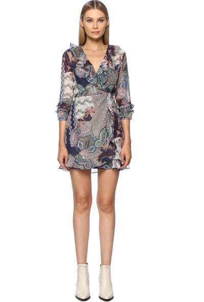 Network Kadın Mini Boy Mor Lacivert Elbise