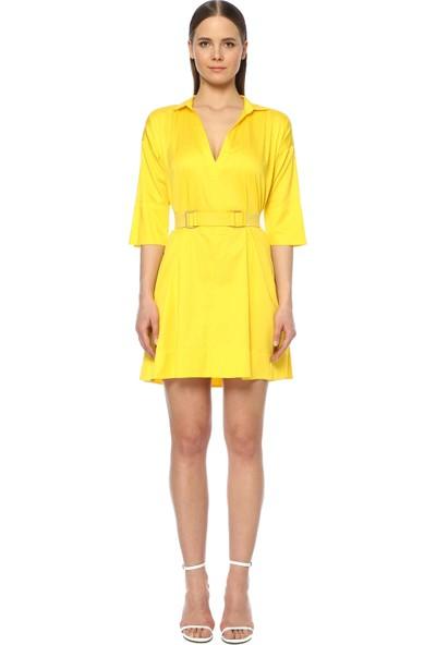 Network Kadın Diz Boy Sarı Elbise