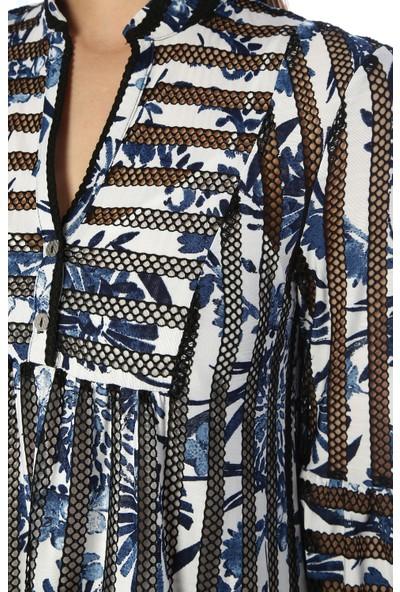 Network Kadın Diz Boy Siyah Beyaz Elbise