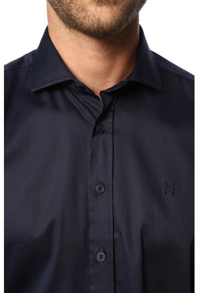 Network Erkek Slim Fit Koyu Lacivert Gömlek