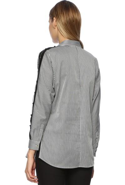 Network Kadın Çizgili Siyah Beyaz Gömlek
