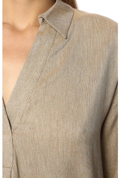 Network Kadın Çizgili Bej Gömlek