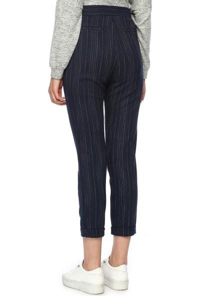 Network Kadın Çizgili Lacivert Pantolon