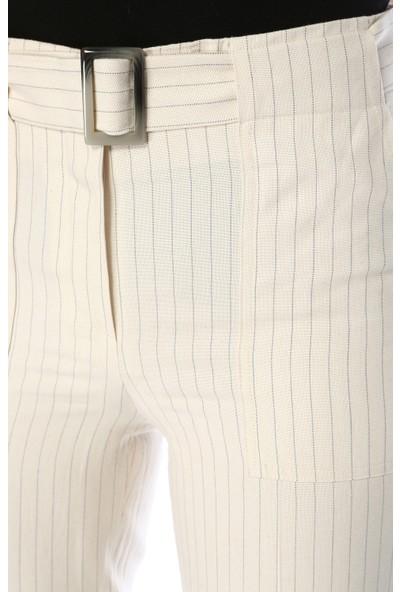 Network Kadın Çizgili Bej Pantolon