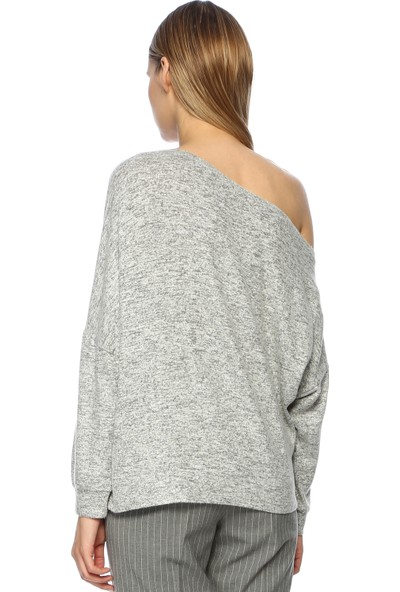 Network Kadın Bol Form Kayık Yaka Penye Gri Melanj Tshirt