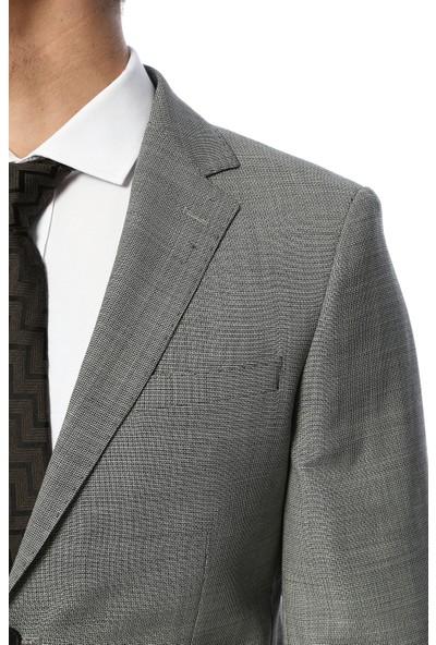 Network Erkek Slim Fit Gri Takım Elbise