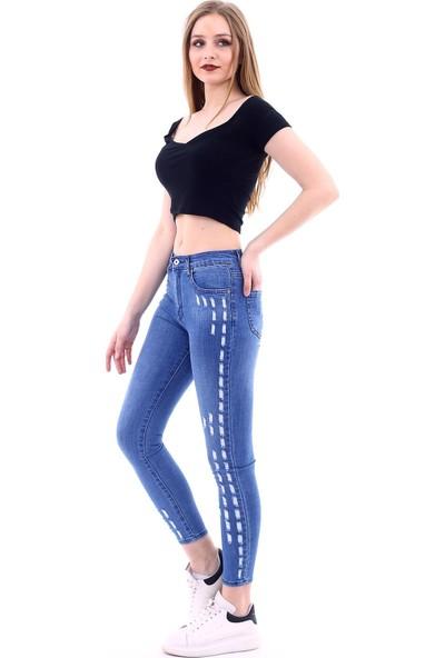Poniba Kadın Açık Mavi Slim Yırtık Desenli Yüksek Bel Kot Pantolon