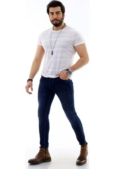 Poniba Erkek Slim Likralı Lacivert Kot Pantolon