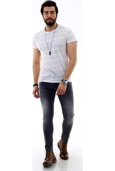 Poniba Erkek Likralı Slim Kot Pantolon Gri