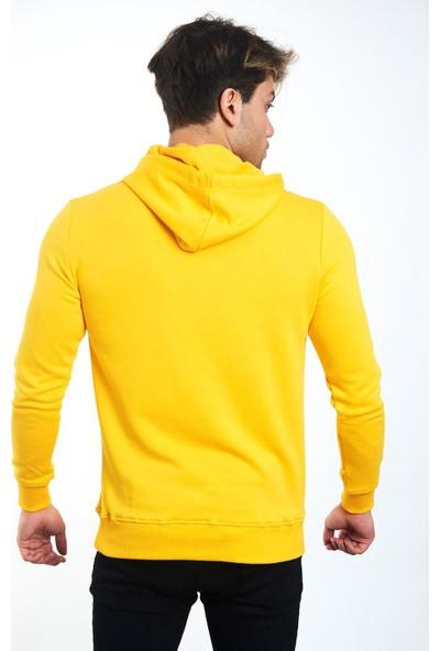 Poniba Erkek Polarlı Kapüşonlu Kanguru Cepli Sarı Sweatshirt