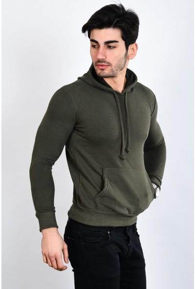 Poniba Erkek Polarlı Kapüşonlu Kanguru Cepli Haki Sweatshirt