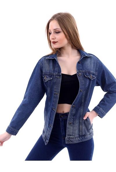 Poniba Kadın Kahverengi Tint Enzim Yıkamalı Denim Jeans Kot Ceket