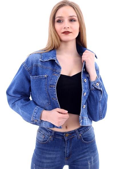 Poniba Kadın Mavi Yıkamalı Boyfriend Denim Jeans Kot Ceket