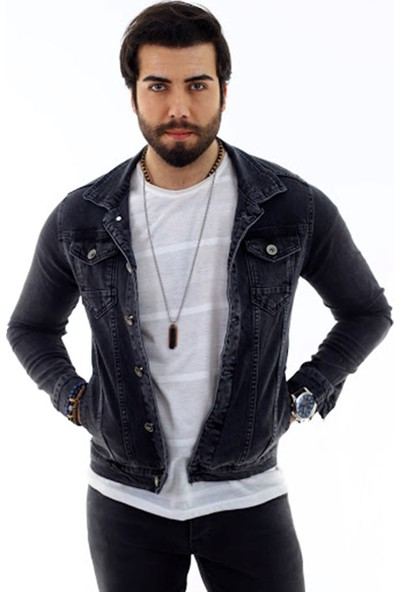 Poniba Erkek Füme Denim Jeans Kot Ceket