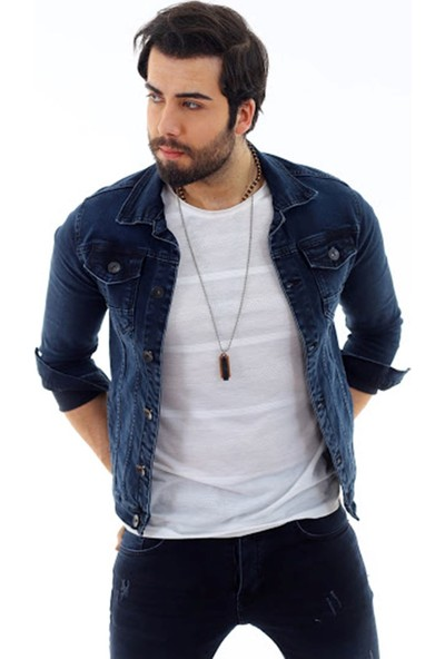 Poniba Erkek Yeşil Tint Slim Denim Jeans Kot Ceket